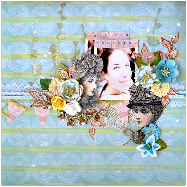Mixed Media Scrapbook Layout with Vintage Lace Book Pages and Flowers