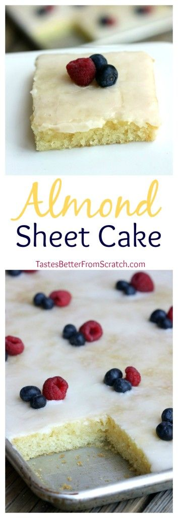 This recipe is nearly identical to the chocolate one–I just left out the cocoa and replaced the vanilla extract with almond extract. The result is the most AMAZING sheet cake! The cake is very soft and moist cake with a hint of almond. I love the addition of fruit on top too, for a fun and beautiful twist.