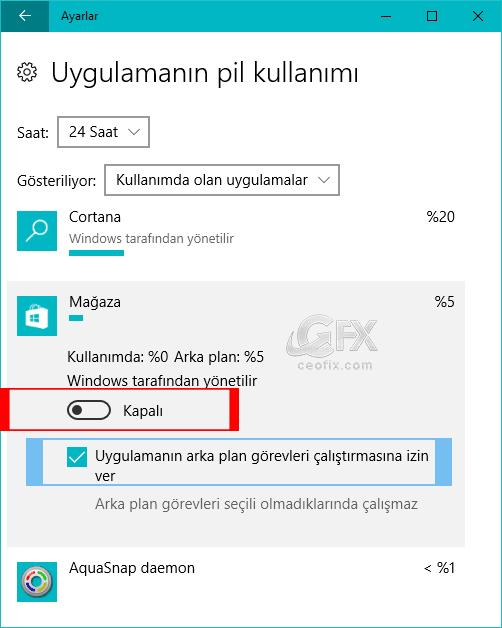 windows 10 uygulamaların pil kullanımı