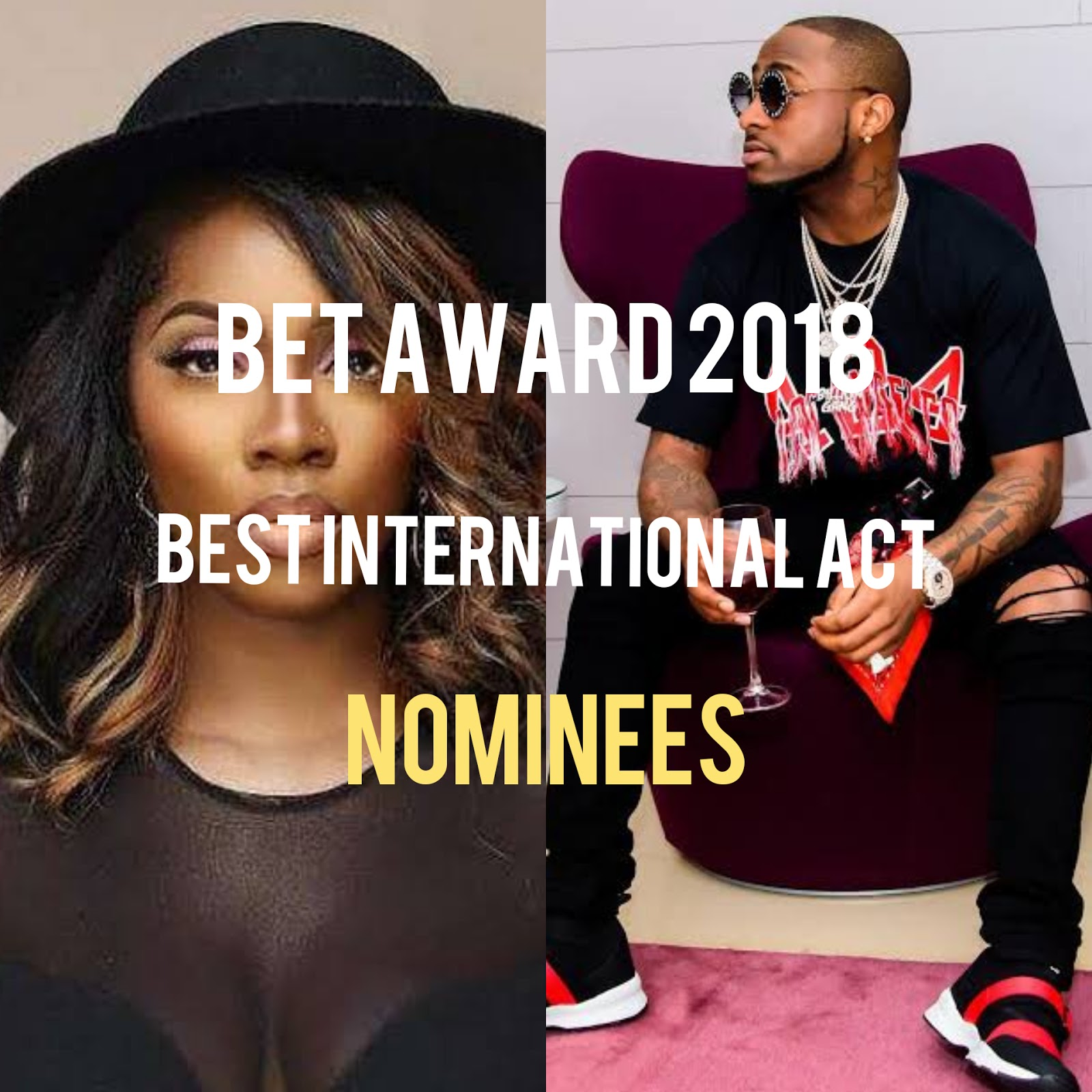 Super Mavin Dynasty Queen Tiwa Savage and DMW king have been nominated for BET 2018 award taking place in Microsoft Theater, Sunday 24th, June 2018..