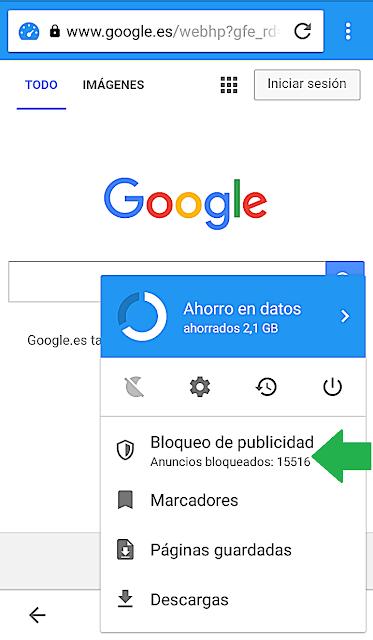 click sobre bloqueo publicidad opera mini