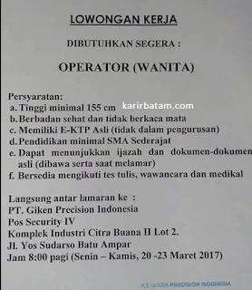 Lowongan Kerja PT. Giken Precision Indonesia