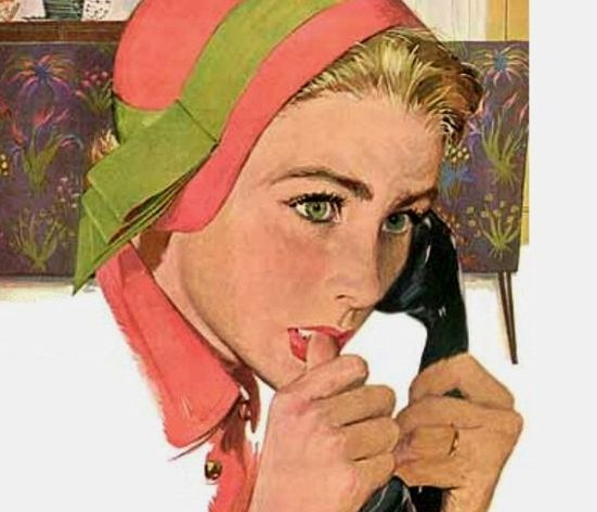 Illustration by D'Andrea, Bernard L. A woman talking on the telephone. 1950s. An Exciting Offer and Other stories of Marketing the American Dream. marchmatron.com