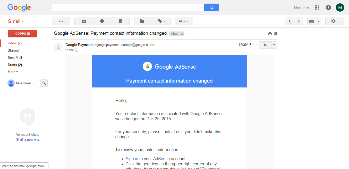 Google Adsense : Payment contact information changed