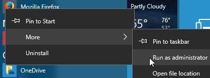 Windows 8, écran de démarrage. Pour exécuter un programme Desktop avec des droits élevés, cliquez dessus avec le bouton droit de la souris, puis cliquez sur «Exécuter en tant qu'administrateur» dans la barre d'application.