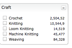 screen shot of Ravelry advanced search