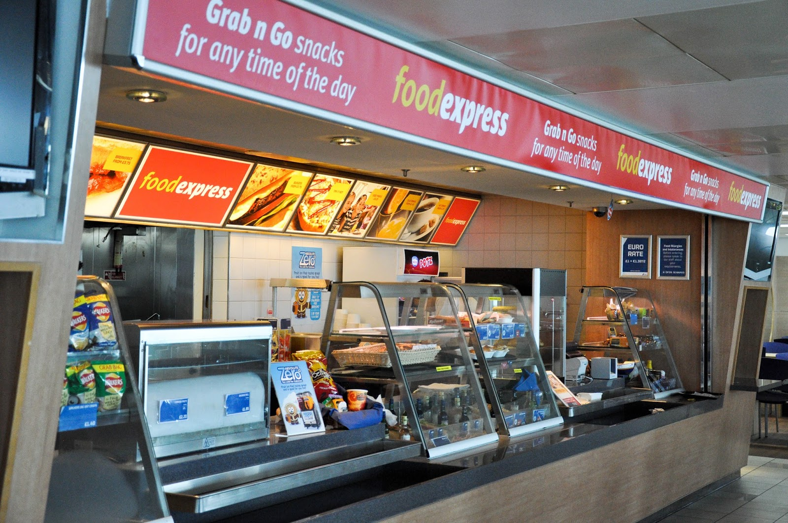The FoodExpress counter on the DFDS Saeways Ferry, The English Channel, on the way back from France