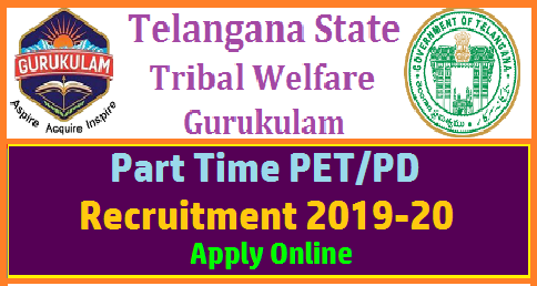 Telangana Gurukulam Part Time PET PD Recruitment 2019-20 Online Registration started  TELANGANA TRIBAL WELFARE RESIDENTIAL EDUCATIONAL INSTITUTIONS SOCIETY(R), HYDERABAD TTWREIS PART TIME PET/PD RECRUITMENT FOR 2019-20 ONLINE REGISTRATION It is to inform that The TTWREIS (Gurukulam) having 142 Residential Institutions of TTWREI Society. Out of 142 Institutions, there are (61) Upgraded Residential Junior Colleges, (33) Residential Schools, (26) Residential Junior Colleges & (22) Residential Degree Colleges. Physical Directors (PD) & Physical Educational Teachers (PET) plays a key role in the lives of students especially in Non academic activities like Sports & Games and also to maintain discipline in their day –to-day life activities which helps them to grow physically & mentally. telangana-ts-gurukulam-part-time-pet-pd-recruitment-register-online