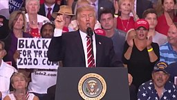 Donal Trump addresses the crowd at a Phoenix Az. Rally, August 2017