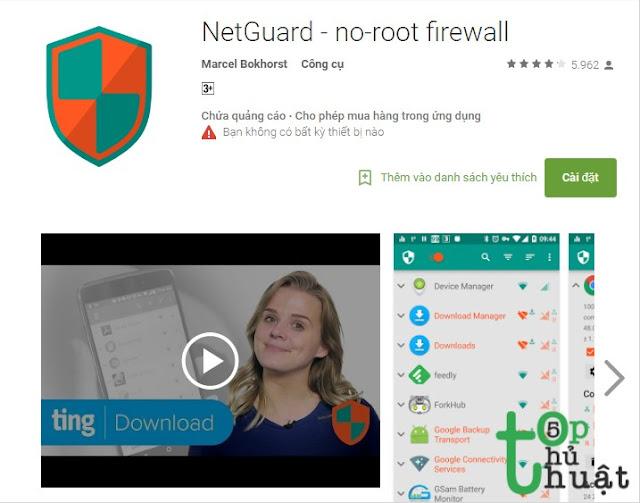 Ứng dụng NETGUARD- NO-ROOT FIREWALL