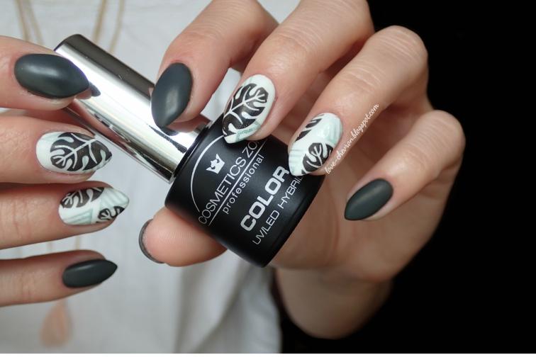 Cosmetics Zone | lakier hybrydowy | 036 Atlantic Seal | 003 Intense White | @lovechevronblog |płytka do stemplowania | monstera | stemple na paznokciach | manicure hybrydowy | inspiracje paznokciowe | modne paznokcie | recenzja hybryd | Cosmetics Zone opinia |