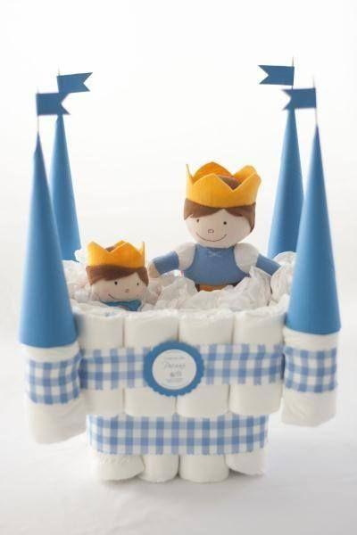 chá de bebê com bolo de fralda castelo