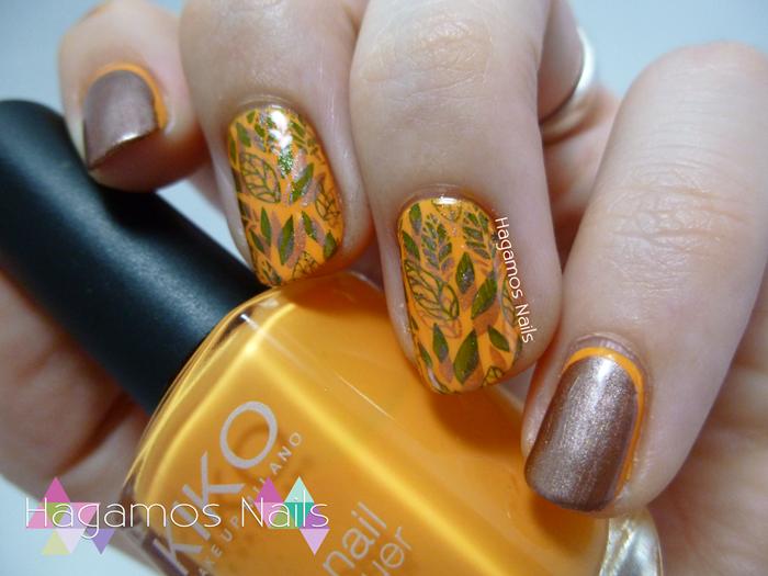 Hagamos Nails. Nail Art Otoño Hojas y Ruffian #retocolorescosasdechicasvol4