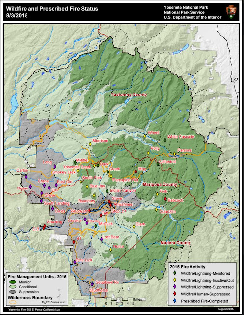 Yosemite N.P. Fire Location Map
