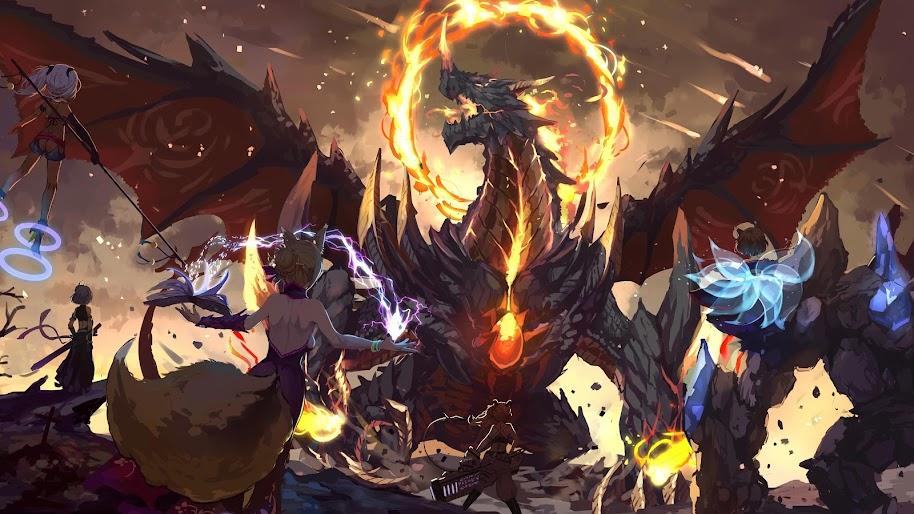 Dragon Anime Battle 4k Wallpaper 8