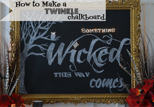 Twinkle Chalkboard for halloween by Home Stories A to Z via Funky Junk Interiors