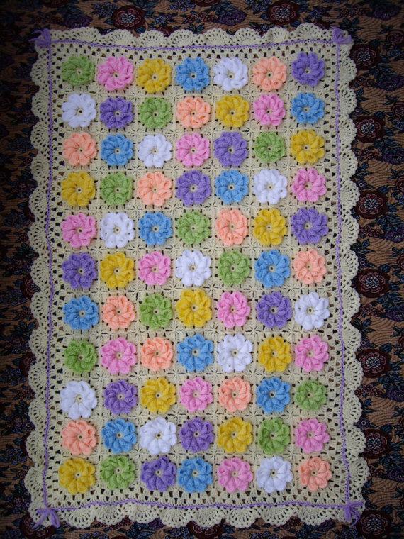 How to Crochet 3D Flower Baby Blanket.