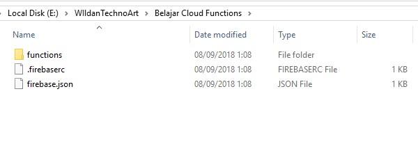 Screenshot kumpulan file konfigurasi dari cloud functions
