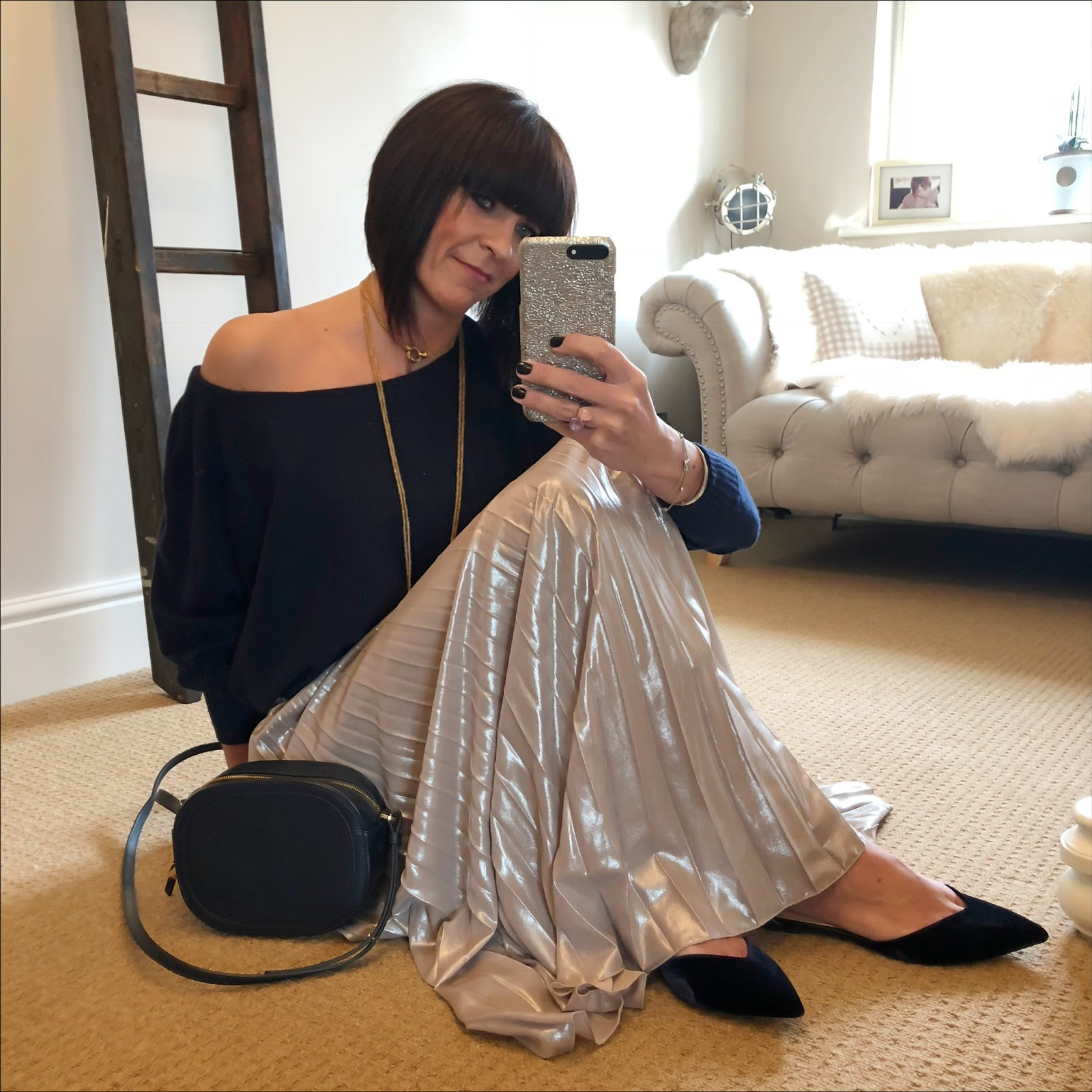 my midlife fashion, iris and ink cashmere off the shoulder jumper, iris and ink leather shoulder bag, no 1 jenny packham gold metallic pleated maxi skirt, j crew pointed velvet flat mary janes