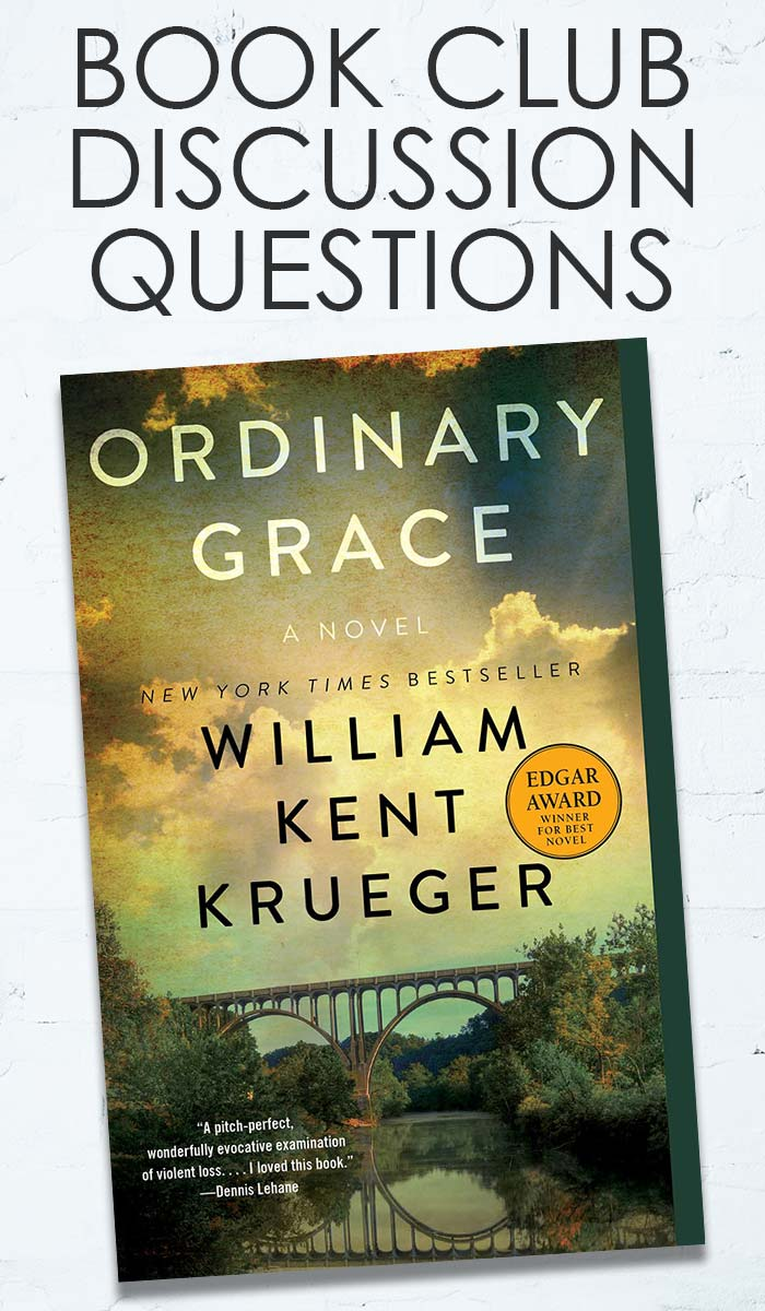 Book Club questions for Ordinary Grace by William Kent Krueger! Join our online book club discussion and use these book club questions for your own discussions. Thought provoking book club questions your group will love. #books #bookstoread #bookclub #bookclubbooks