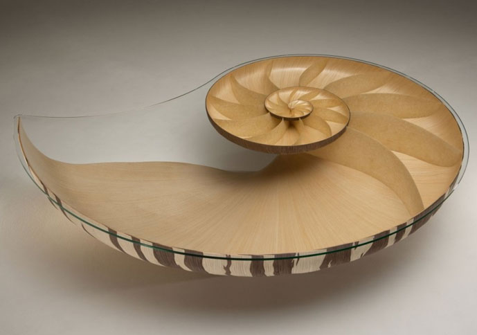 Wood Crafted Tables Shaped like Nautilus Shells