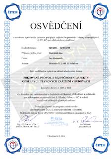 Jan Ondráček, Instalatér, Brno, Osvědčení Odběrná plynová zařízení v budovách