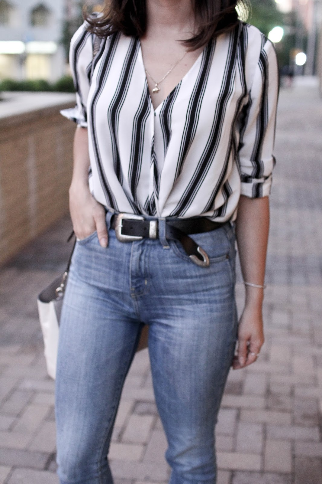How to style high waist jeans. | A.Viza Style | current elliott super high waist denim. striped top. dc blogger
