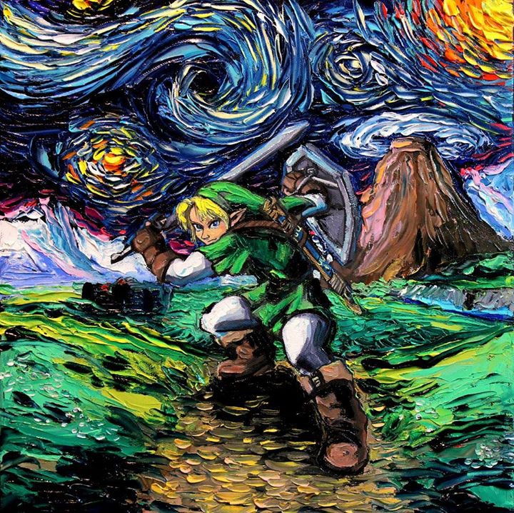 11-Link-The-Legend-of-Zelda-Aja-Trier-Vincent-Van-Gogh-Paintings-and-a-Sprinkle-of-Pop-Culture-www-designstack-co