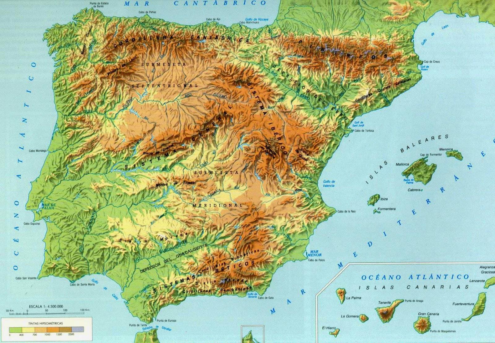 Mapa Fisico Peninsula Iberica Rios.Mapas De Espana Para Descargar E Imprimir Completamente