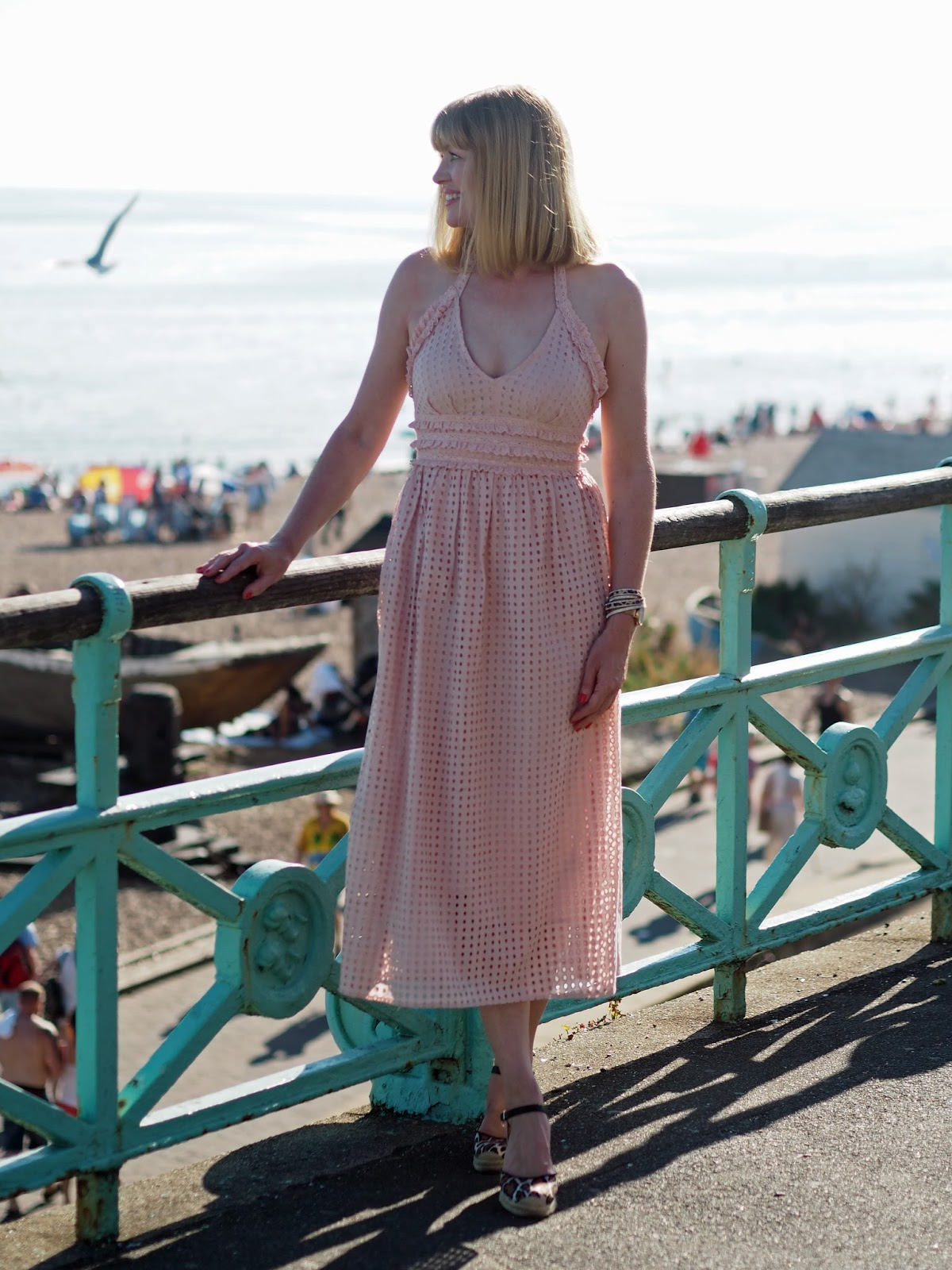 Topshop pink broderie anglaise ruffle halter neck midi dress with leopard print espadrilles