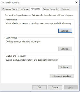 Masuk ke menu advanced system setting
