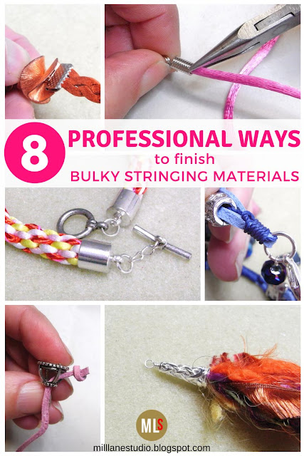 8 ways to finish jewellery made from bulky stringing materials in a professional way inspiration sheet