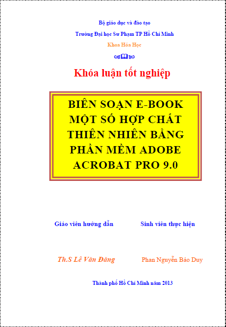 Biên soạn ebook chuyên đề một số hợp chất thiên nhiên bằng phần mềm Adobe Acrobat 9.0 Pro Extended