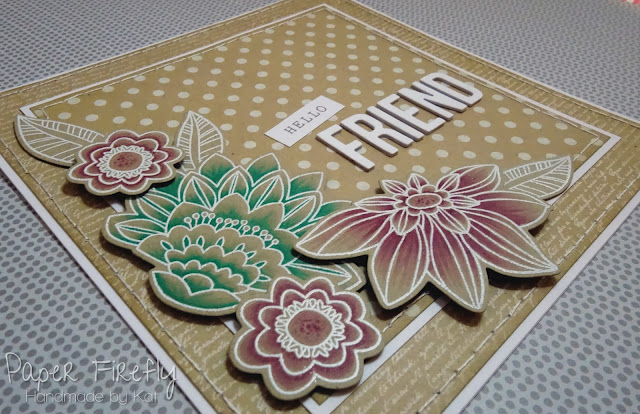 Kraft card for a friend using My Favorite Things Fancy flowers stamps and dies