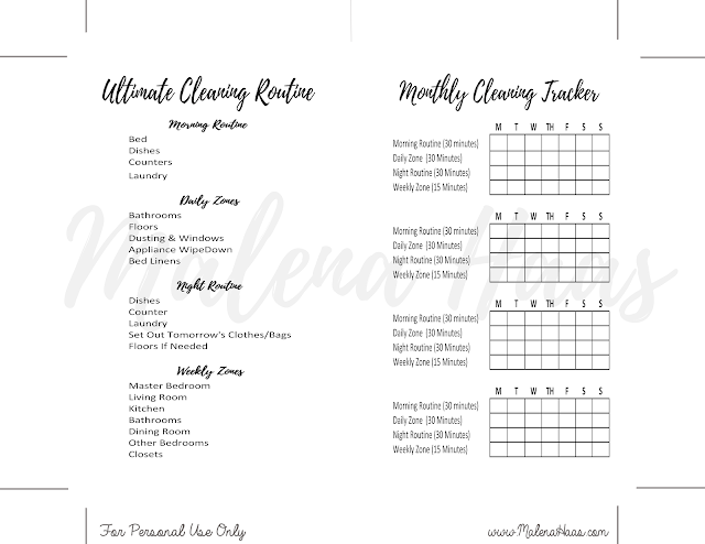 Personal Sized - MM Agenda - Double Sided Cleaning Inserts for  Personal Size Planner - MM Agenda - www.MalenaHaas.com