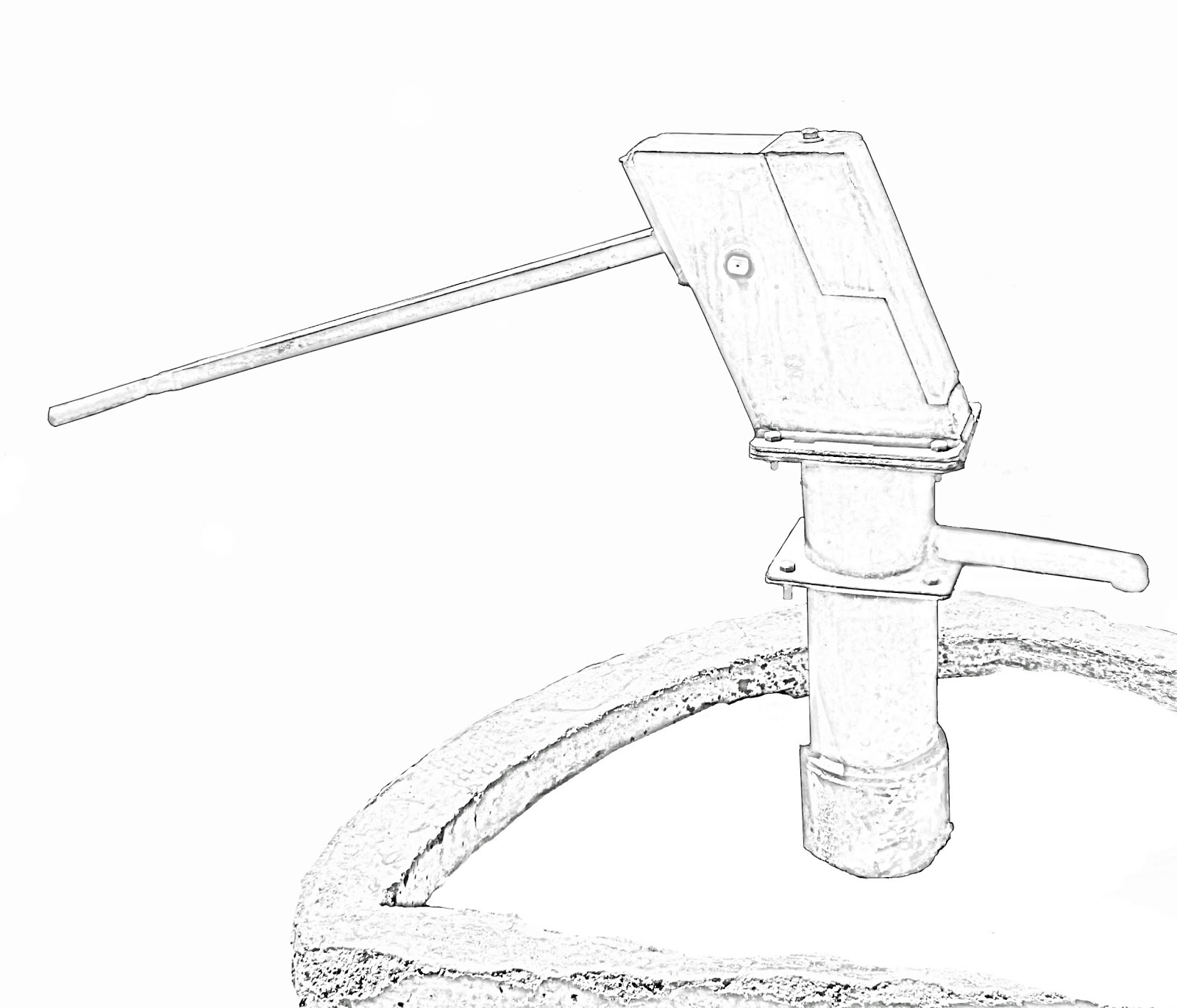 Stock Pictures: Hand Pump Sketch and Line Drawing