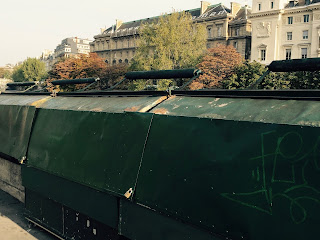 The famous green boxes used by the Parisian bouquinistes. They have been designated a World Heritage Site status