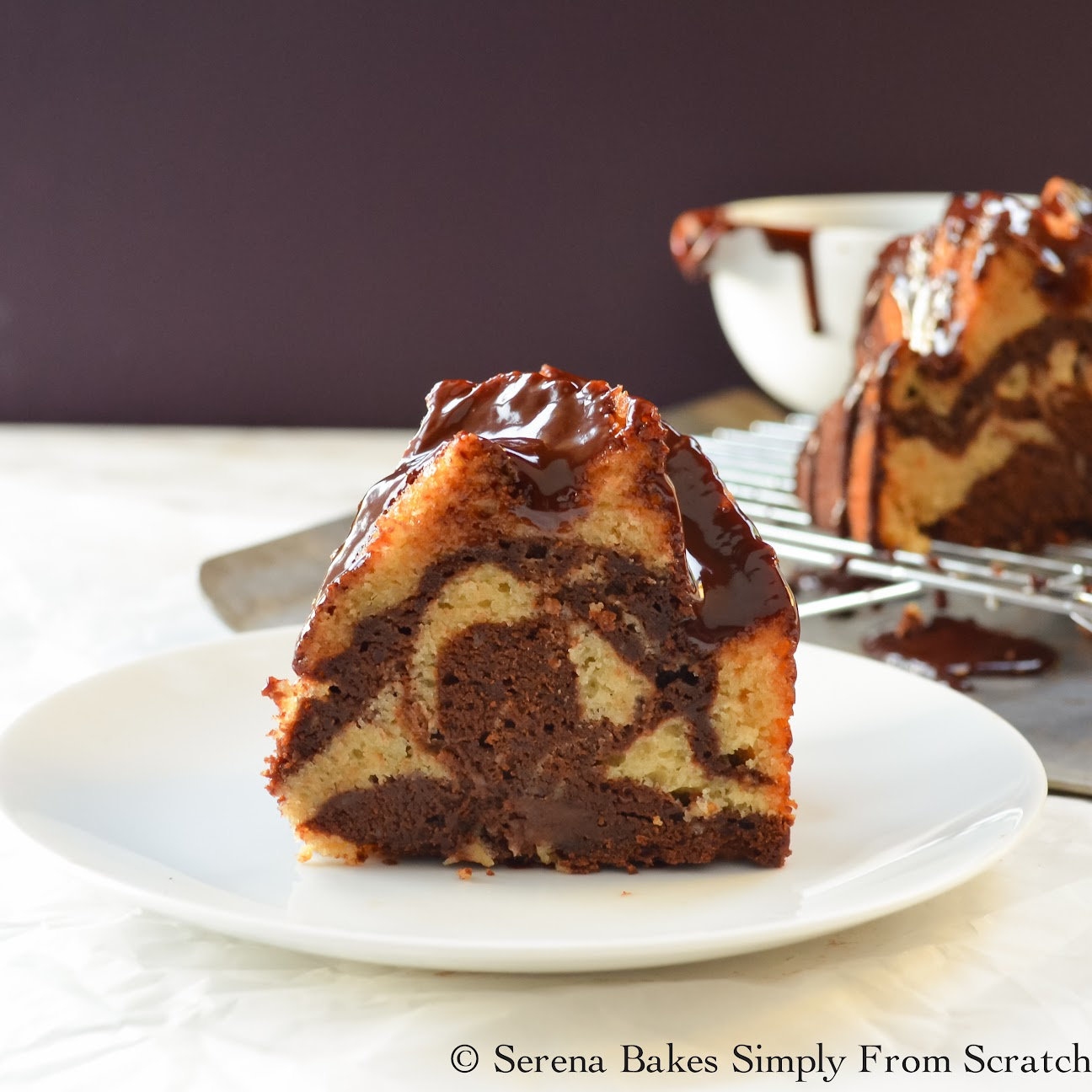 Buttermilk Marble Bundt Cake With Glossy Chocolate Glaze