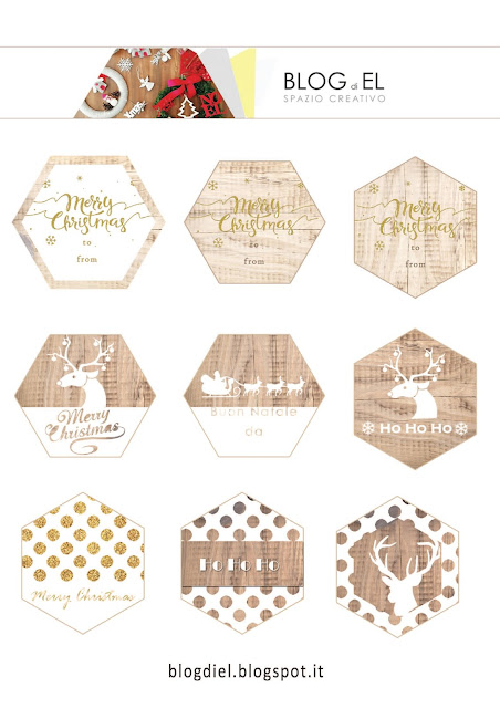 hexagon gift tag for christmas