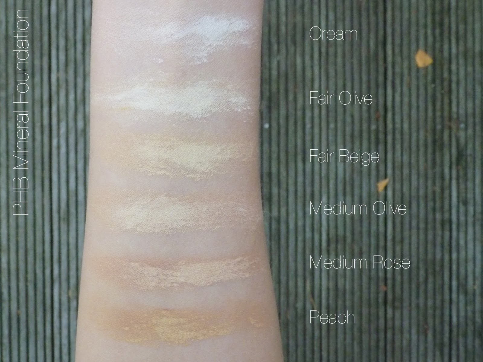 PHB Mineral Foundation Swatches