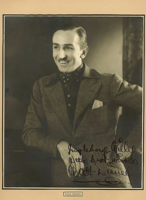Walt Disney early autographed photo animatedfilmreviews.filminspector.com