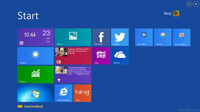 WinMetro Start Screen