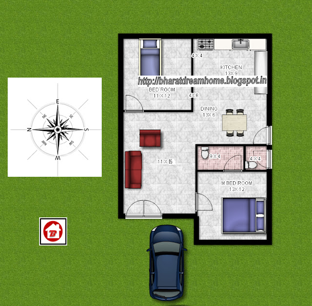 Bharat Dream Home: 2 Bedroom Floorplan,700 Sq Ft,west Facing