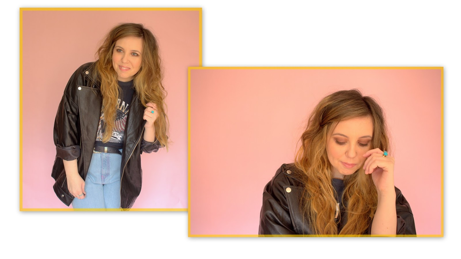 leather jacket, faux leather, mom jeans, vintage tee, missguided, boohoo