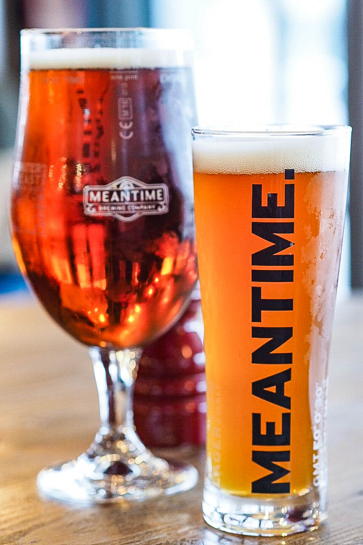 Two pints of meantime beer