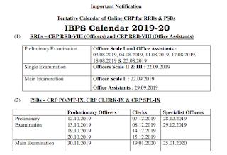 IBPS Exam Calendar Schedule 2019-20