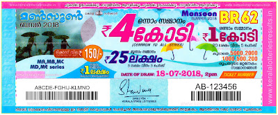"keralalotteriesresults.in, Kerala Next Bumper; ""Monsoon bumper - 2018 Results"" Prize Structure ""BR-62"", monsoon bumper 2018 price structure, monsoon bumper 2018 prize, monsoon bumper 2018 prize structure, keralalotteries, kerala lottery, keralalotteryresult, kerala lottery result, kerala lottery result live, kerala lottery results, kerala lottery today, kerala lottery result today, kerala lottery results today, monsoon bumper 2018 result date, monsoon bumper 2018 today result, monsoon bumper 2018 winner, monsoon bumper br62, monsoon bumper draw date 18-07-2018,Kerala Bumper; ""MONSOON BUMPER - 2018 Results"" Prize Structure BR-62Kerala Lottery Results"