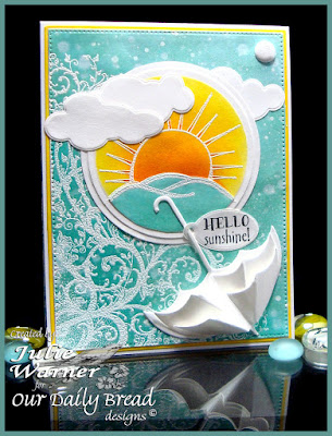 Our Daily Bread Designs Stamp sets: Hello Sunshine, Belles Vignes, ODBD Custom Dies: Clouds and Raindrops, Umbrella,  Flourished Star Pattern,  Mini Tags