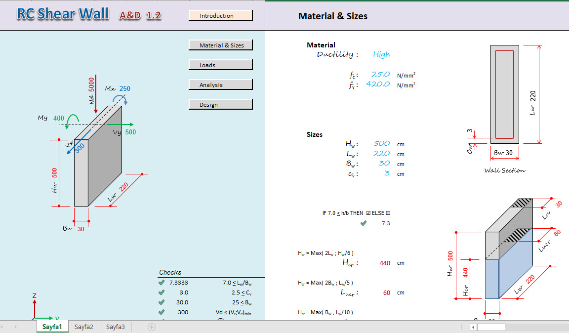 Rc Shear Wall Analysis And Design Excel Sheet Engineering Books