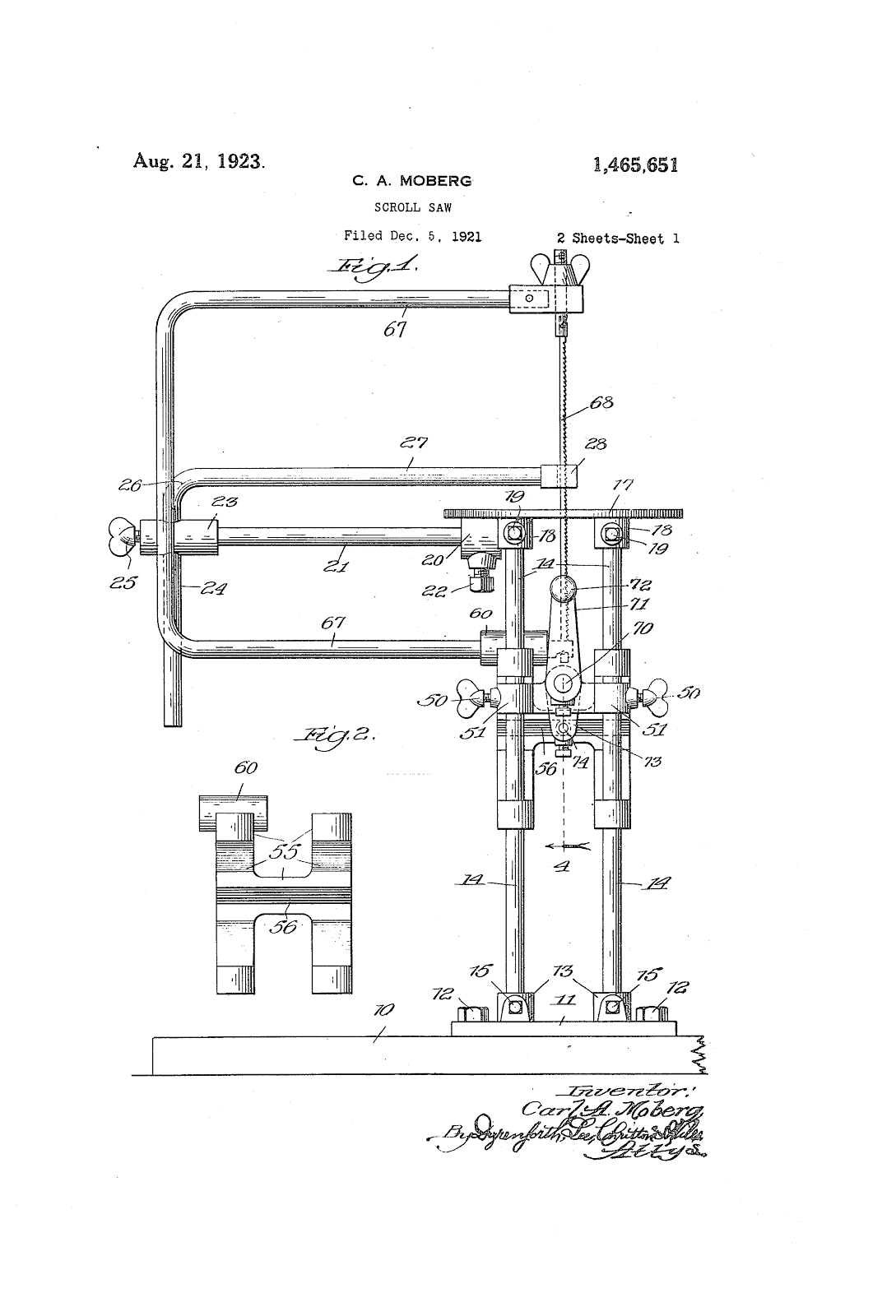 The Valley Woodworker August 2016 Scroll Saw Diagram Our Patent Is No 1465651 Issued To A Mr Ca Moberg So It Was Not Invented By Tautz After All But Manufactured His Company Delta Specialty Co